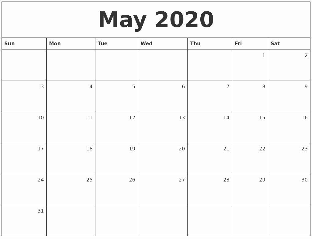 Monthly Free 2020 Printable Calendar Calendar Printables Monthly Calendar Daily Calendar Template