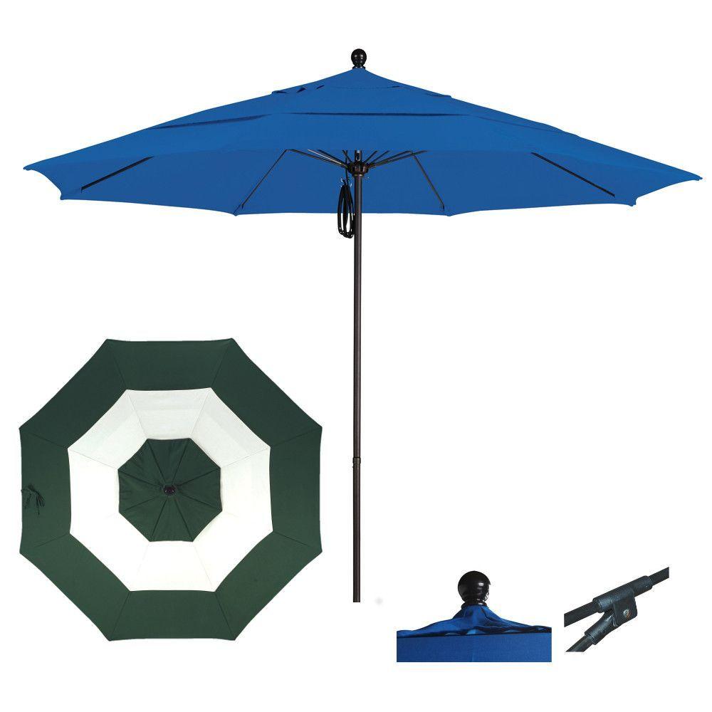 9 Foot Sunbrella Fabric Aluminum Pulley Lift Patio Patio Umbrella, Middle Accent