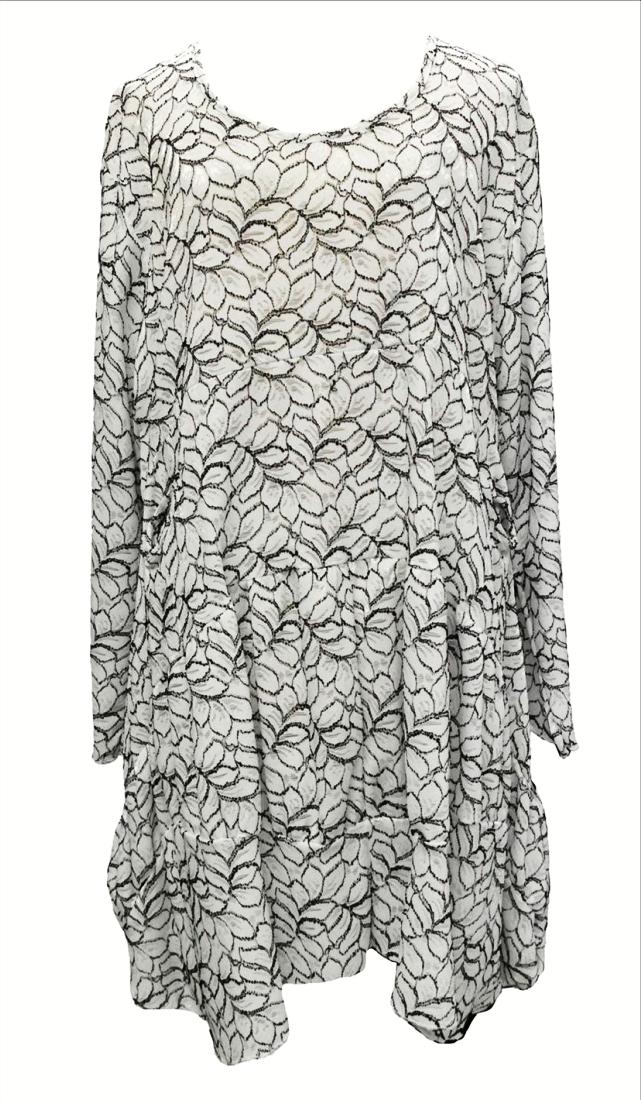 AKH Fashion Lagenlook edle Tunika Kleid aus Spitze in weiß XL Mode bei www.modeolymp.lafeo.de