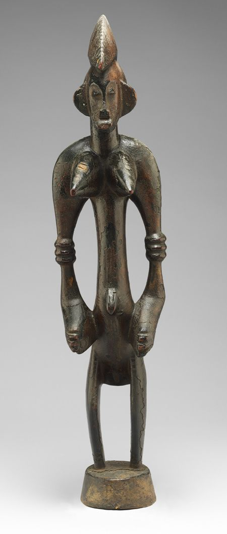 Male and Female Poro Altar Figures (Ndebele), 19th–mid-20th century  Côte d'Ivoire; Senufo  Wood, pigment
