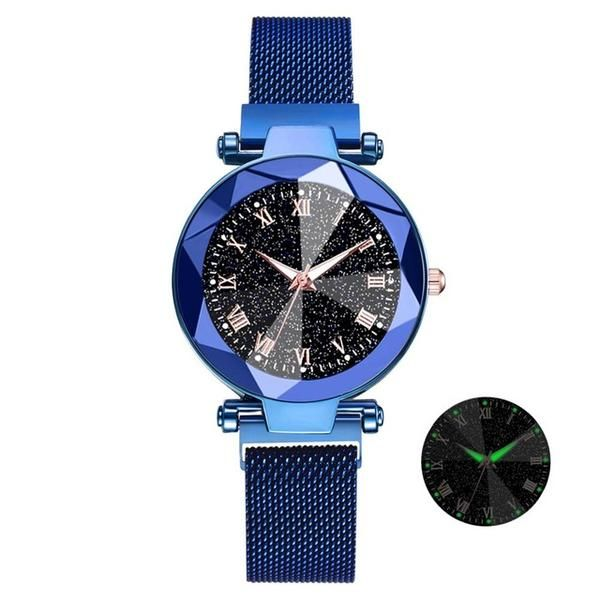 NIGHT LIGHT Magnetic Mesh Bracelet Watches Glow In The Dark Blue