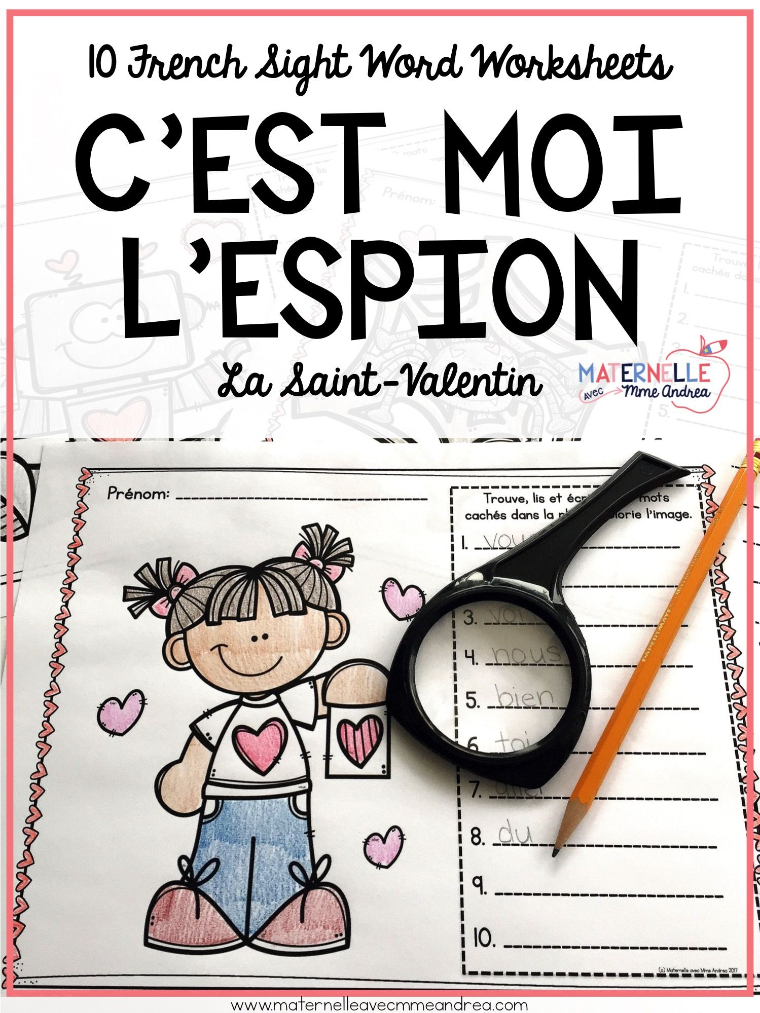 French Valentine S Day Sight Word Reading Amp Writing