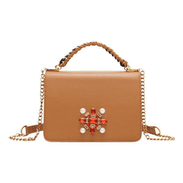 2318ac7017f0 Faux Crystal Chain Braid Crossbody Bag Brown (1.750 RUB) ❤ liked on  Polyvore featuring bags