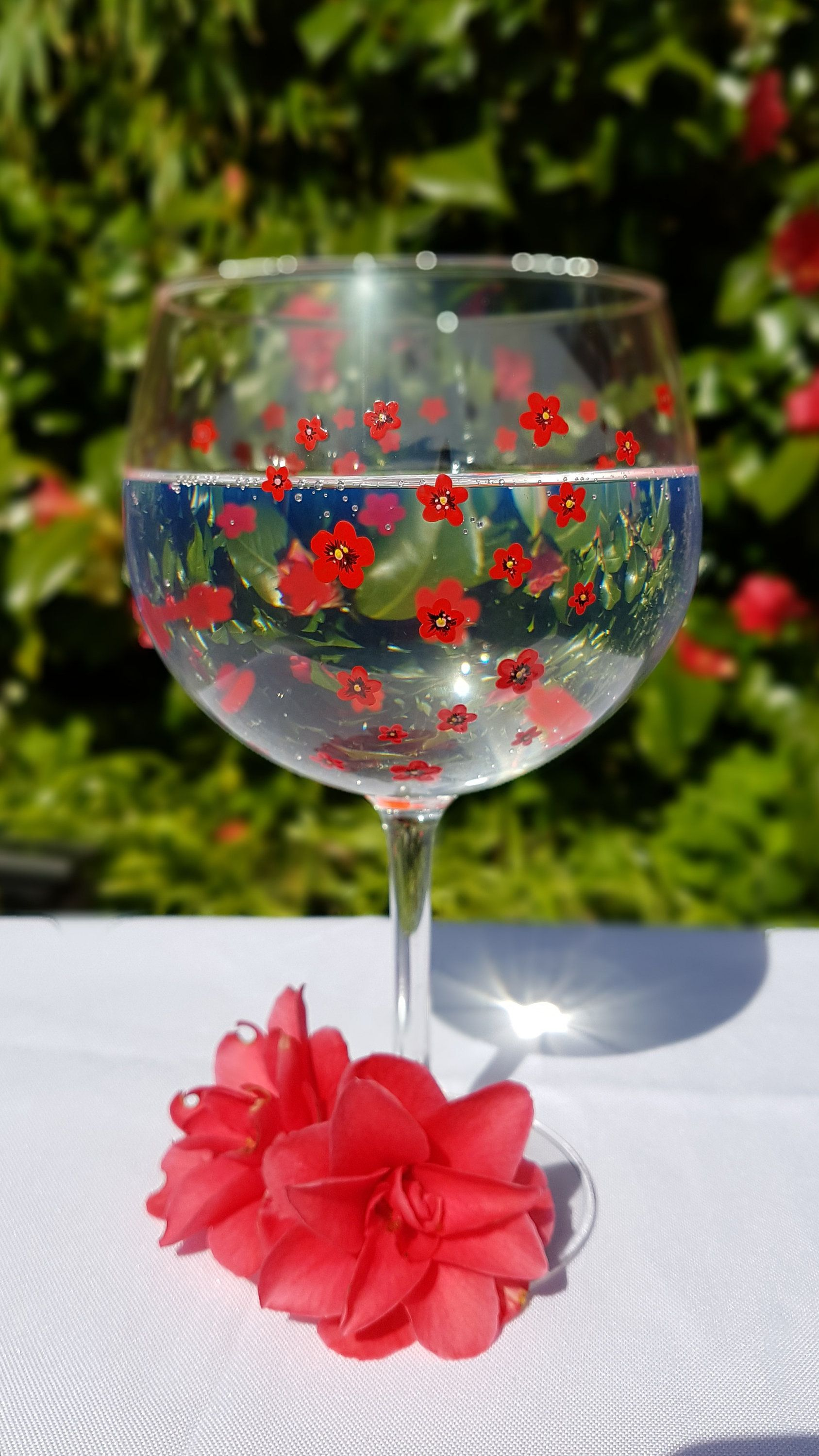 Gin Glass Personalised With Hand Painted Poppies Gift For Etsy Painted Wine Glasses Gin Gifts Hand Painted