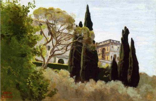 The Facade of the Villa d Este at Tivoli, View from the Gardens - Camille Corot