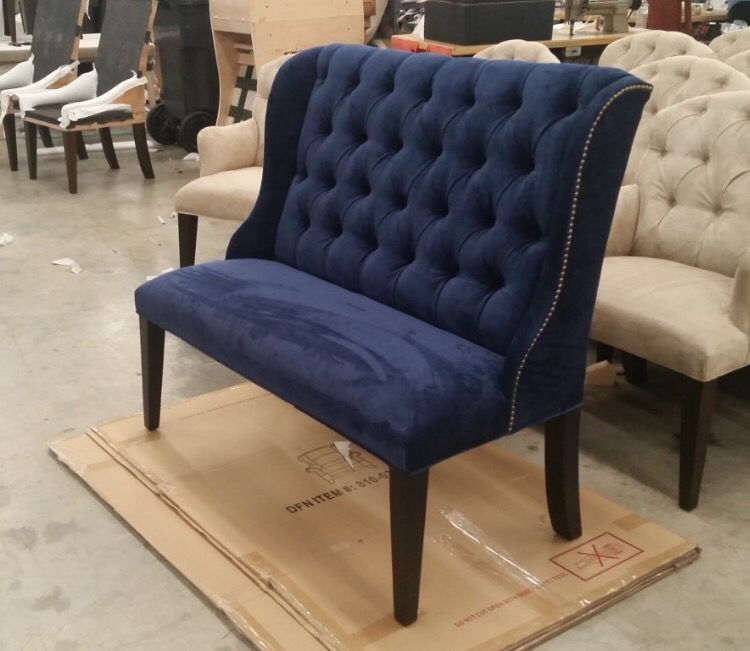 Outstanding Custom Made Tufted Microfiber Linen Velvet Like Navy Pdpeps Interior Chair Design Pdpepsorg