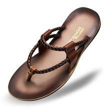 a932c033e93 De Cuero Real de Los Hombres de Verano Tejida Sandalias T-strap Flip Flop  Antideslizante Zapatillas de Playa Al Aire Libre Zapatos de  Diapositivas(China ...