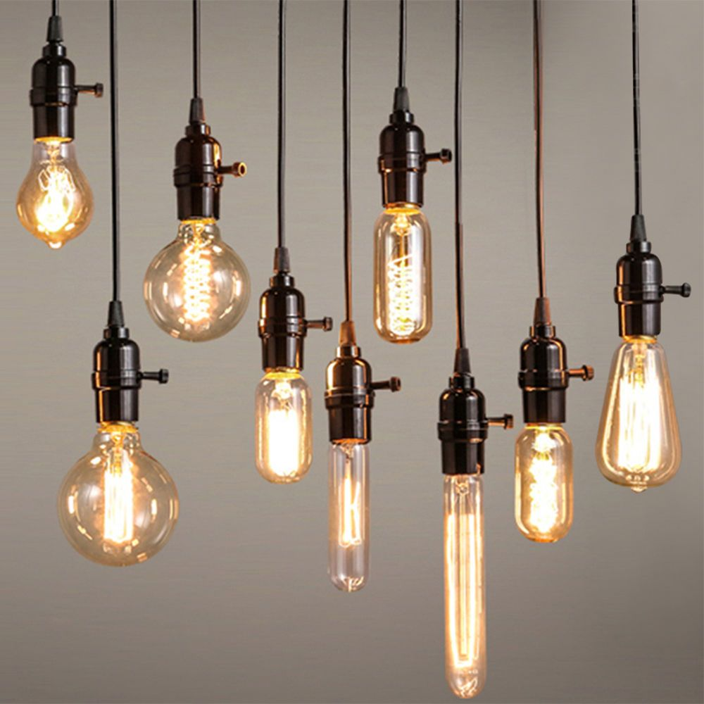 details zu vintage 40w edison gl hbirne e27 e14 lampe filament antik nostalgie licht birne in. Black Bedroom Furniture Sets. Home Design Ideas
