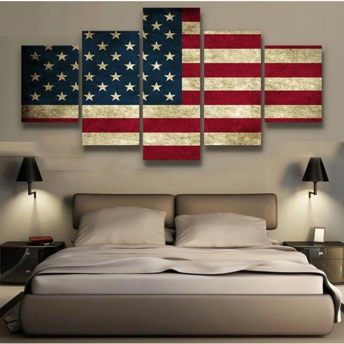 5 Panels Canvas Prints American Flag Wall Art American Flag Art Rustic American Flag