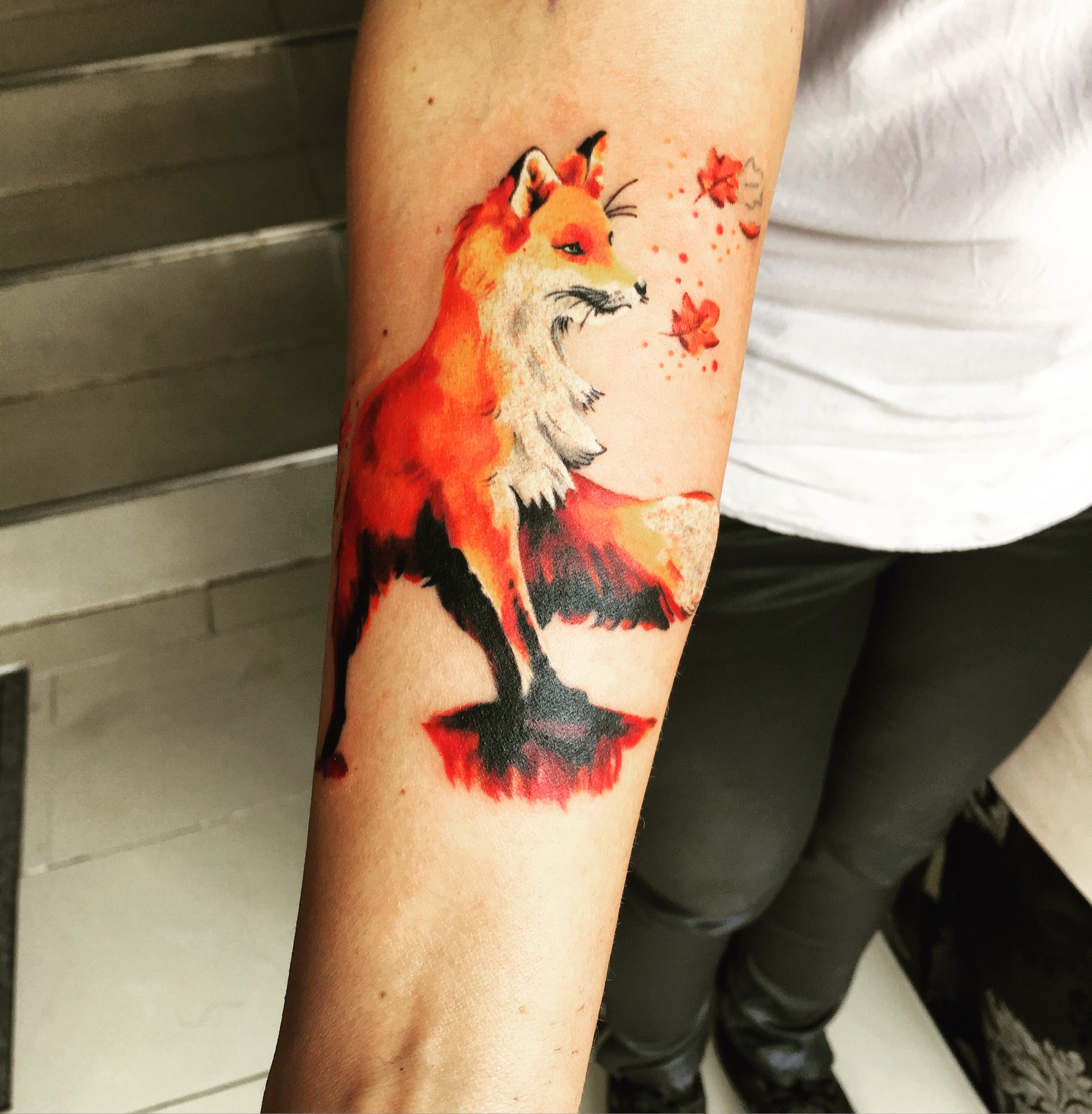 By Moscito At Tattoo Anansi Fox Fuchs Watercolor Aquarell