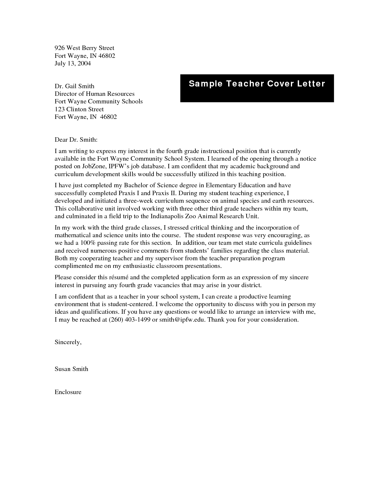 sample cover letters for teaching positions sample cover letter teaching position teaching job cover letter sample high school teacher cover letter - Cover Letter For High School