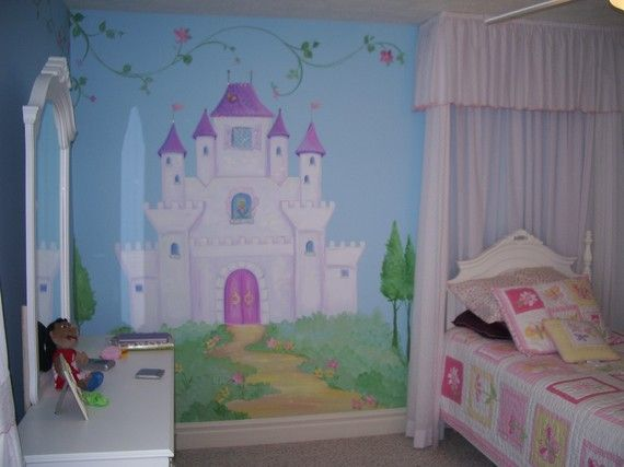 Fairy tale castle mural by mariasideasart on etsy for Fairy tale mural