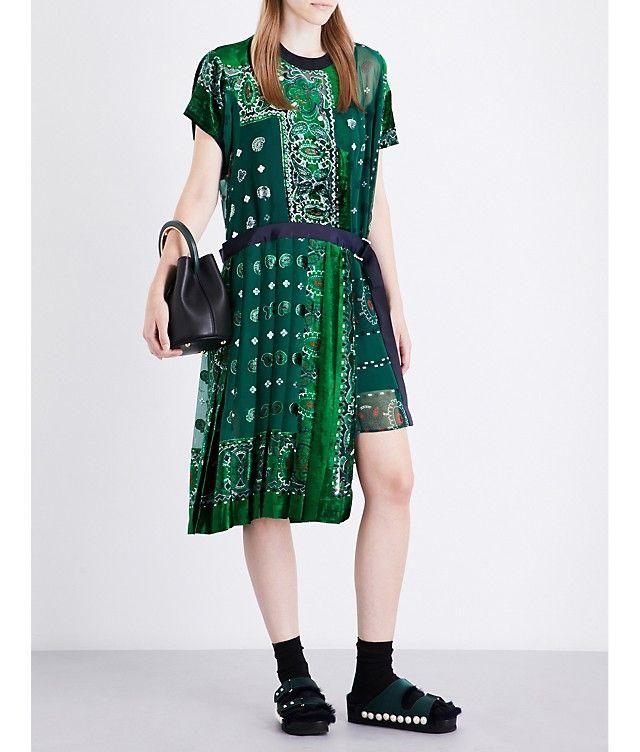 SACAI - Bandana devoré dress | Selfridges.com