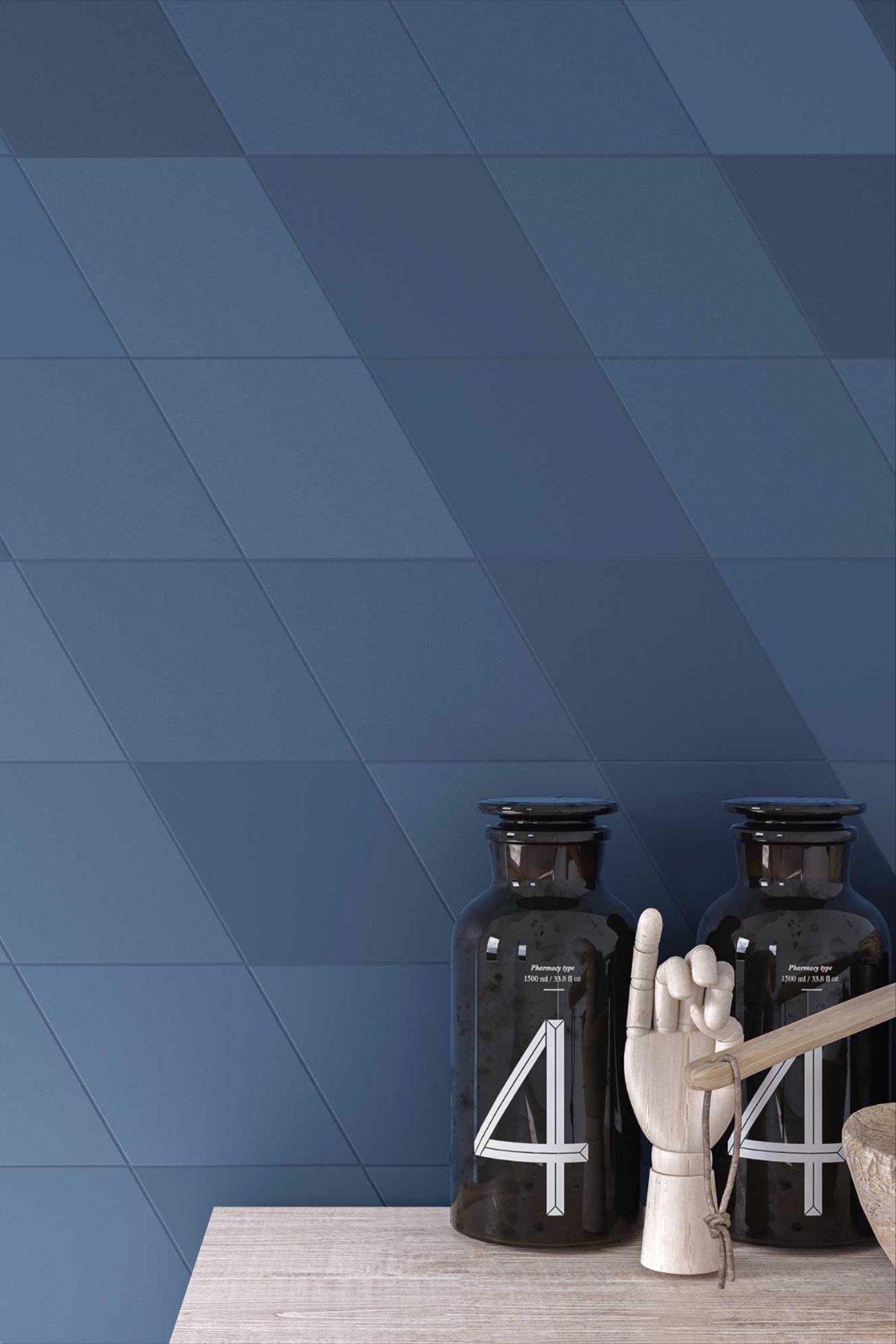 Une Credence Nuancee Et Graphique Bleue Nuit En 2020 Bleu Nuit Carrelage Sol Carrelage
