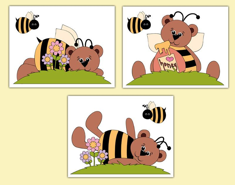 Teddy Bear Bumble Bee Prints Wall Art Decals Woodland Forest Animal ...