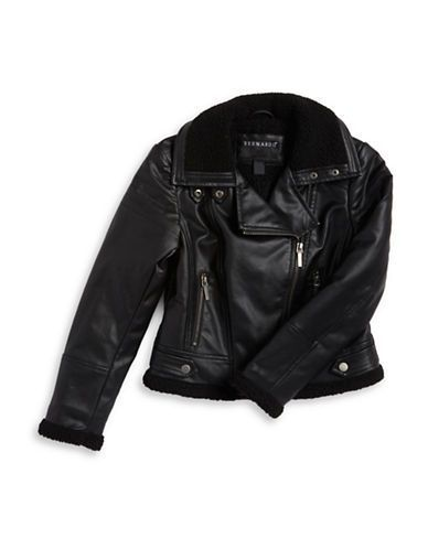 7f2201f2f Collection B Girls 7-16 Faux Leather Sherpa-Lined Moto Jacket Black ...