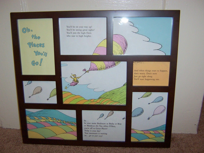 Hot Air Balloons Dr Seuss Adaptation Original Upcycled Framed Wall Art Collage Frame Baby Nursery Decor 50 00 Via Etsy