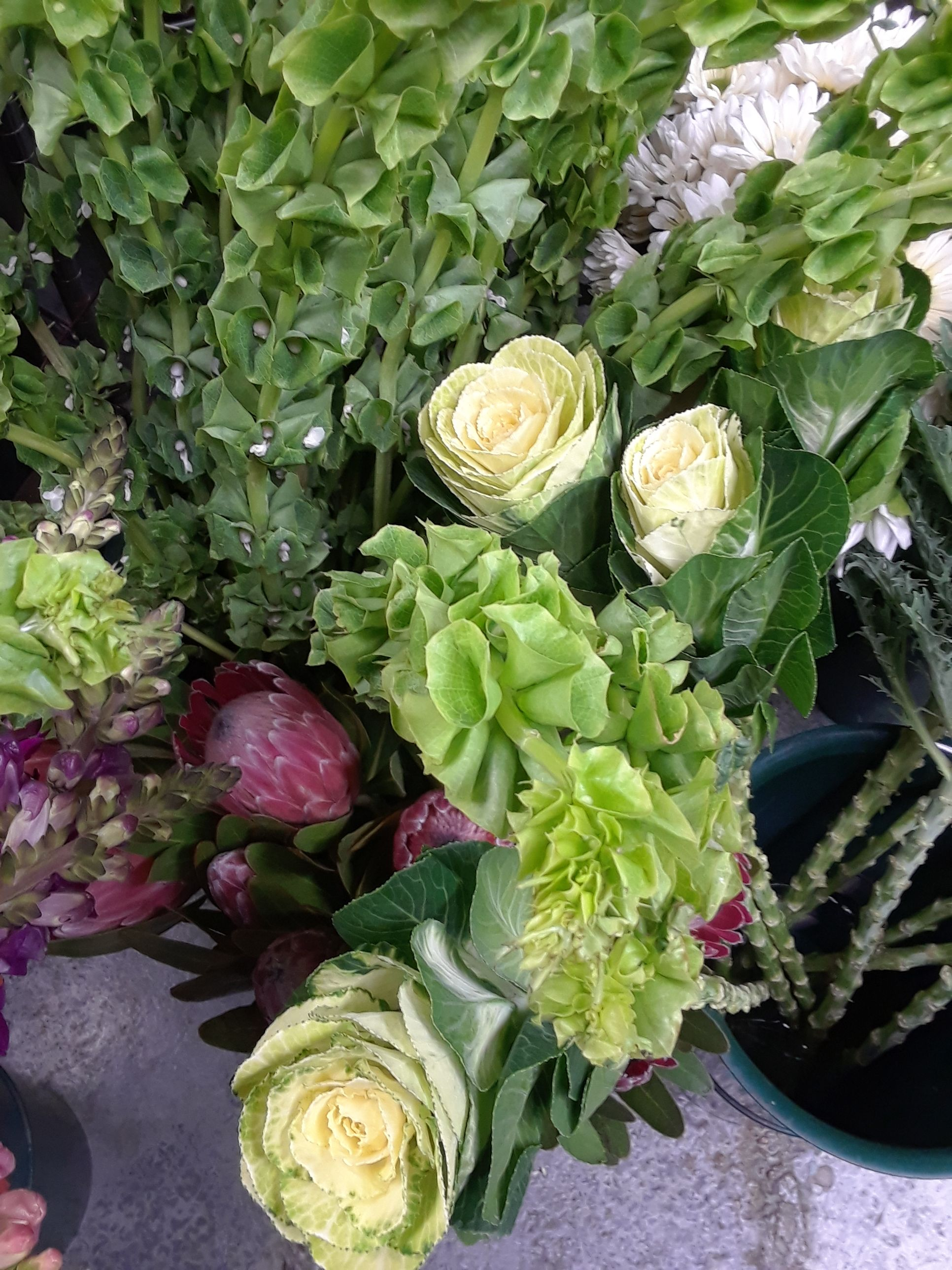 Bells Of Ireland Kale And Protea With Images Flowers Flower Shop Floral Design