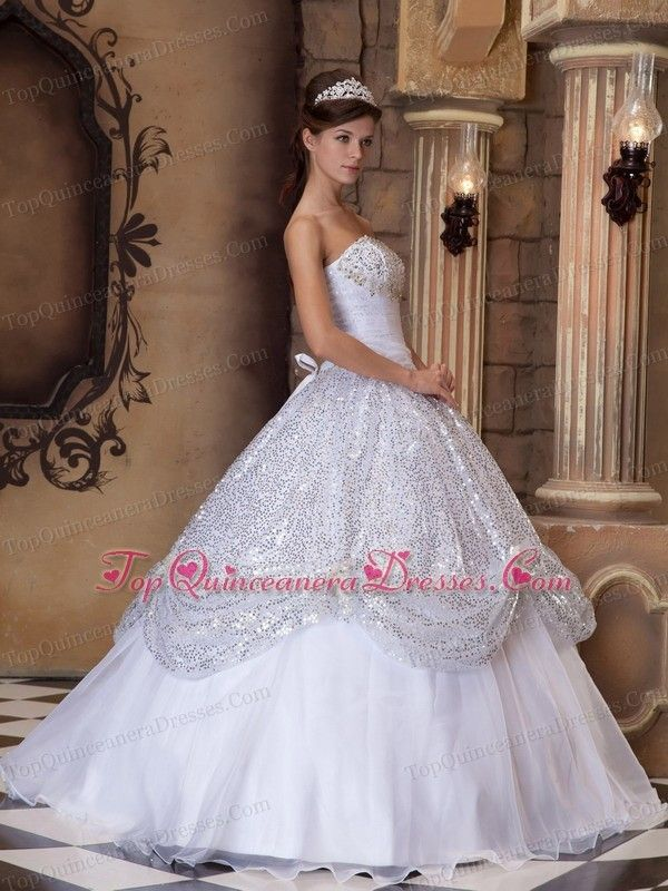 Strapless White Quinceanera Dress Pick-ups Sequins - $218 ...