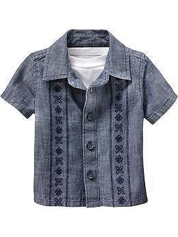 a93f73bda35e Old Navy - Chambray Guayabera Shirts for Baby - Reminds me of a ...