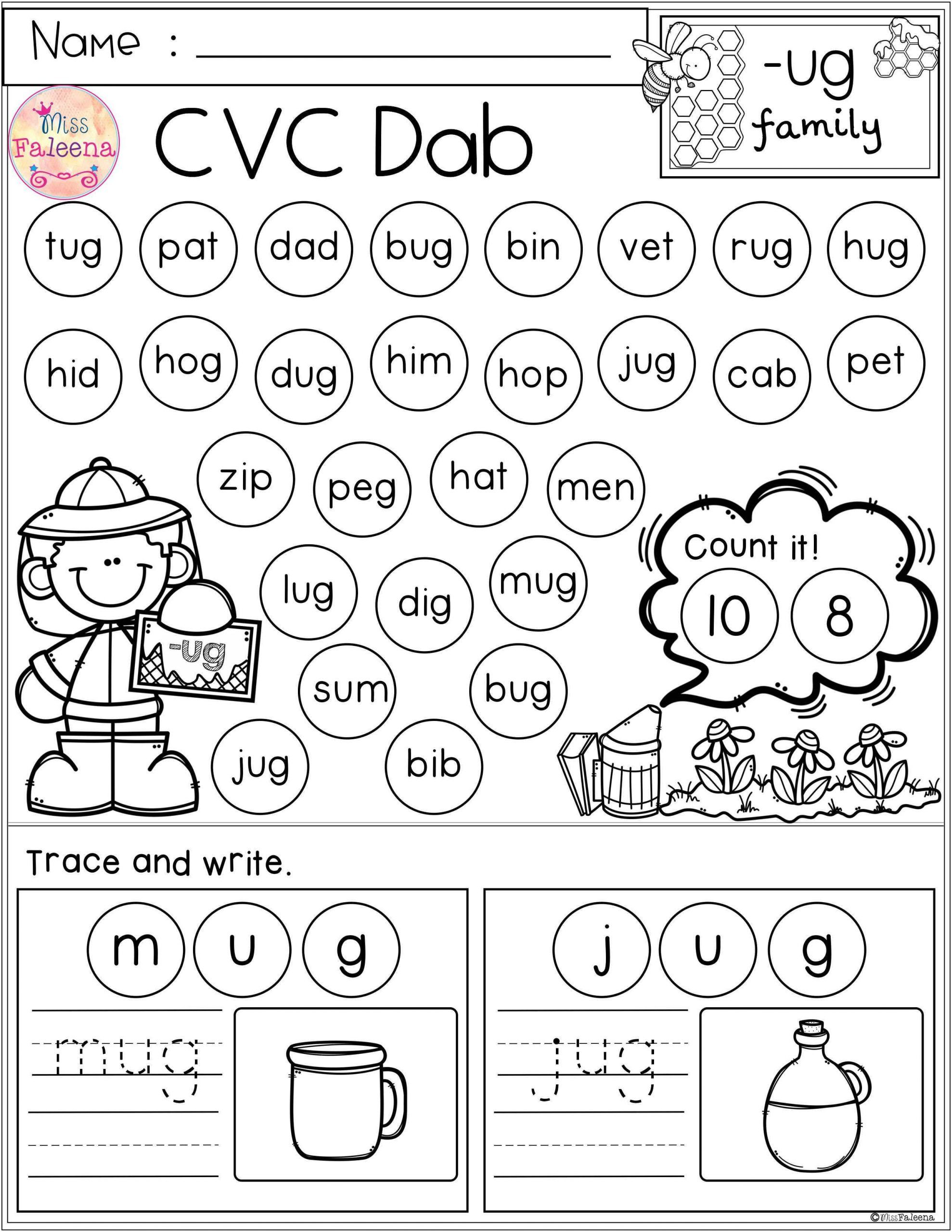 Free Cvc Worksheets For Kindergarten In