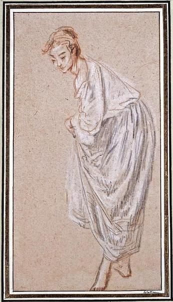 Krijttekening van een staand meisje, dat haar rokken optilt.   Watteau,