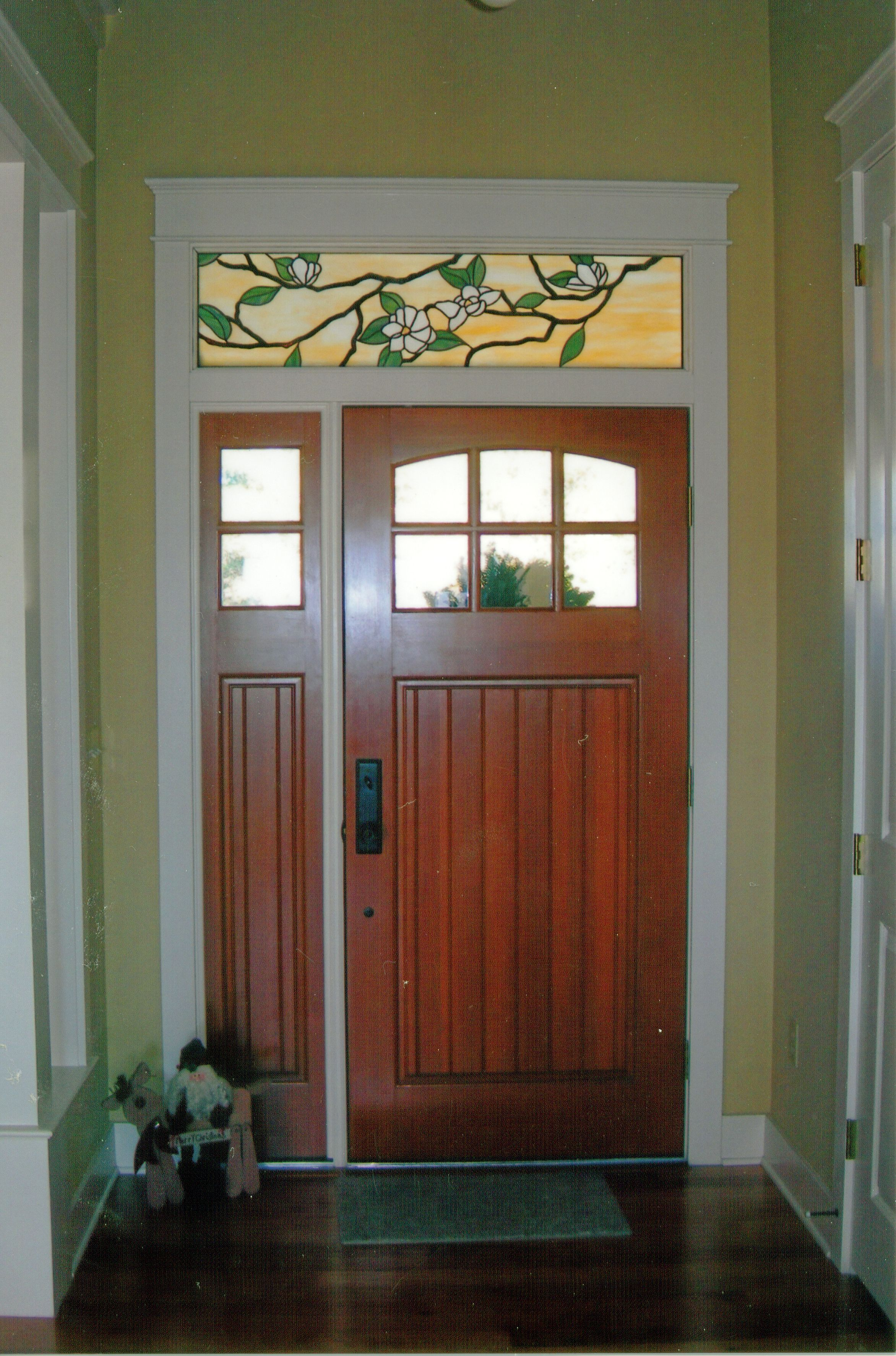 Custom Stained Glass Window Above A Door Magnolia Design Created By Designer Art Glass In