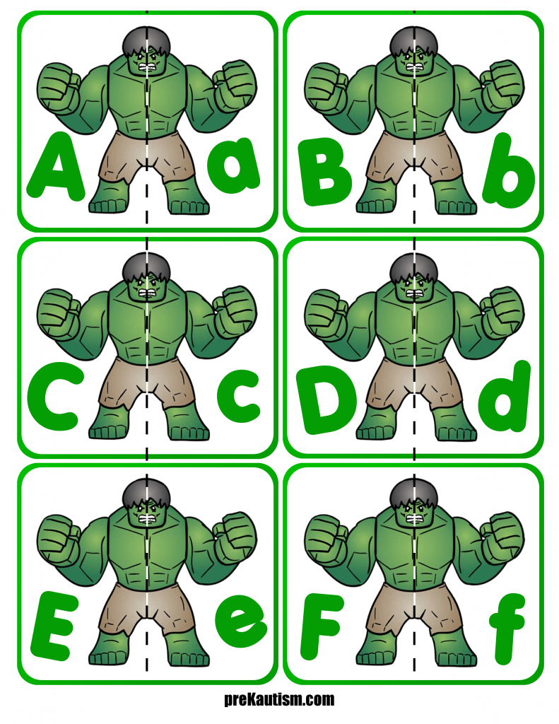 Hulk Letter Matching | preKautism.com | Pinterest | Activities, Free ...