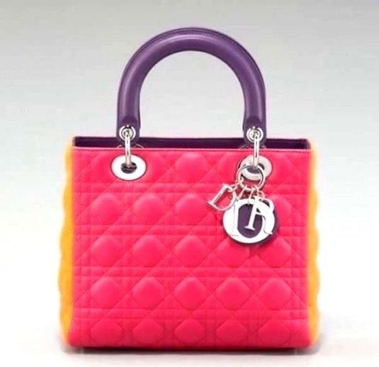 Dior Lady Handbag Bag Tricolor Pink Purple Orange Leather New Nib Clothing Shoes Accessories Women S Handbags Bags Purses