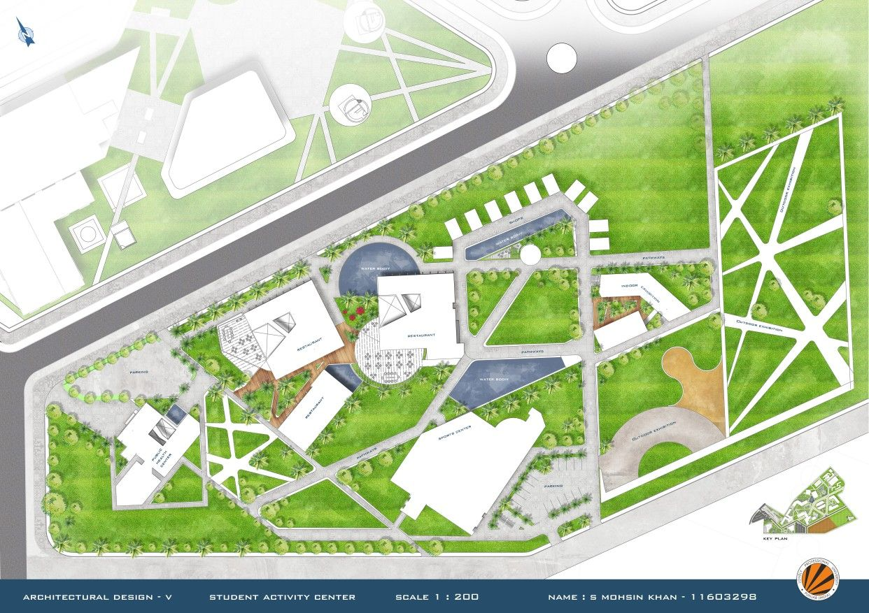 Photoshop Rendered Site Plan Of Student Activity Center Student