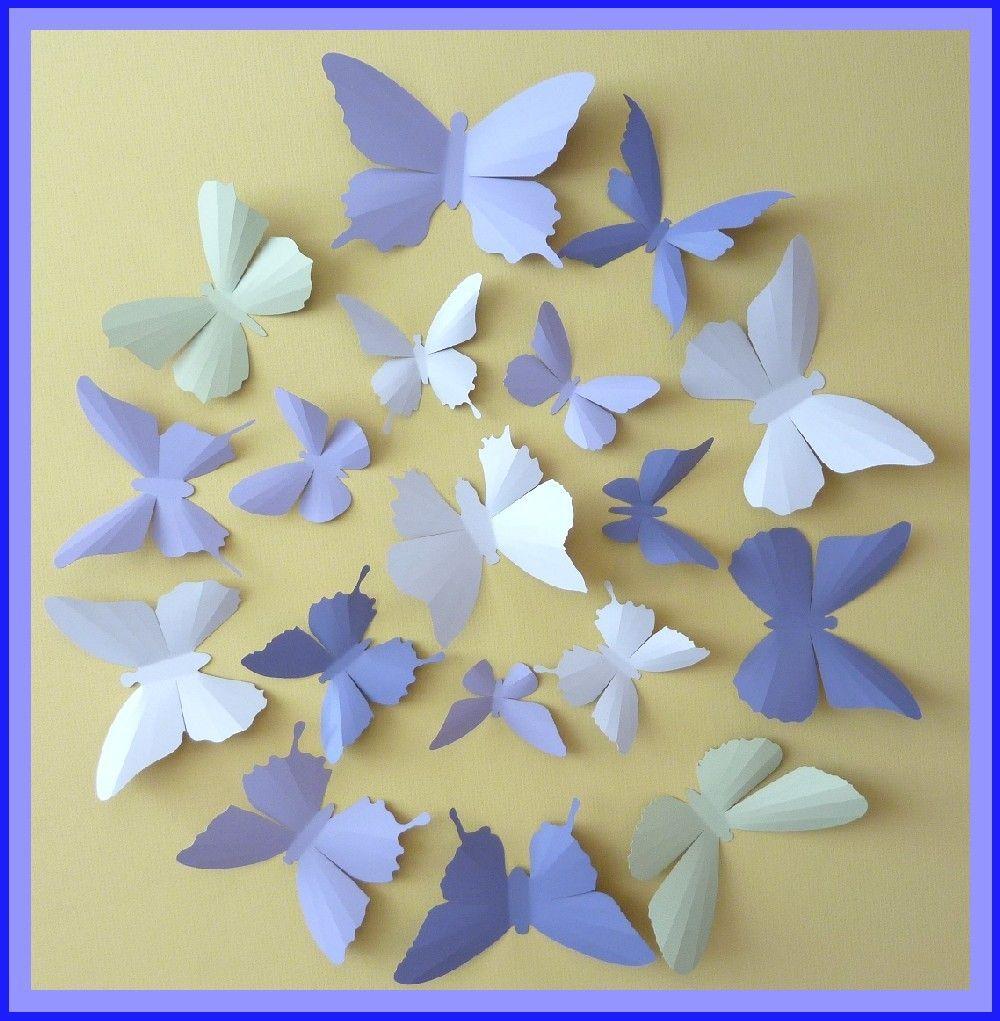 3D Wall Butterflies - 30 Lavender, Lilac Purple, Tea Green, Pink ...