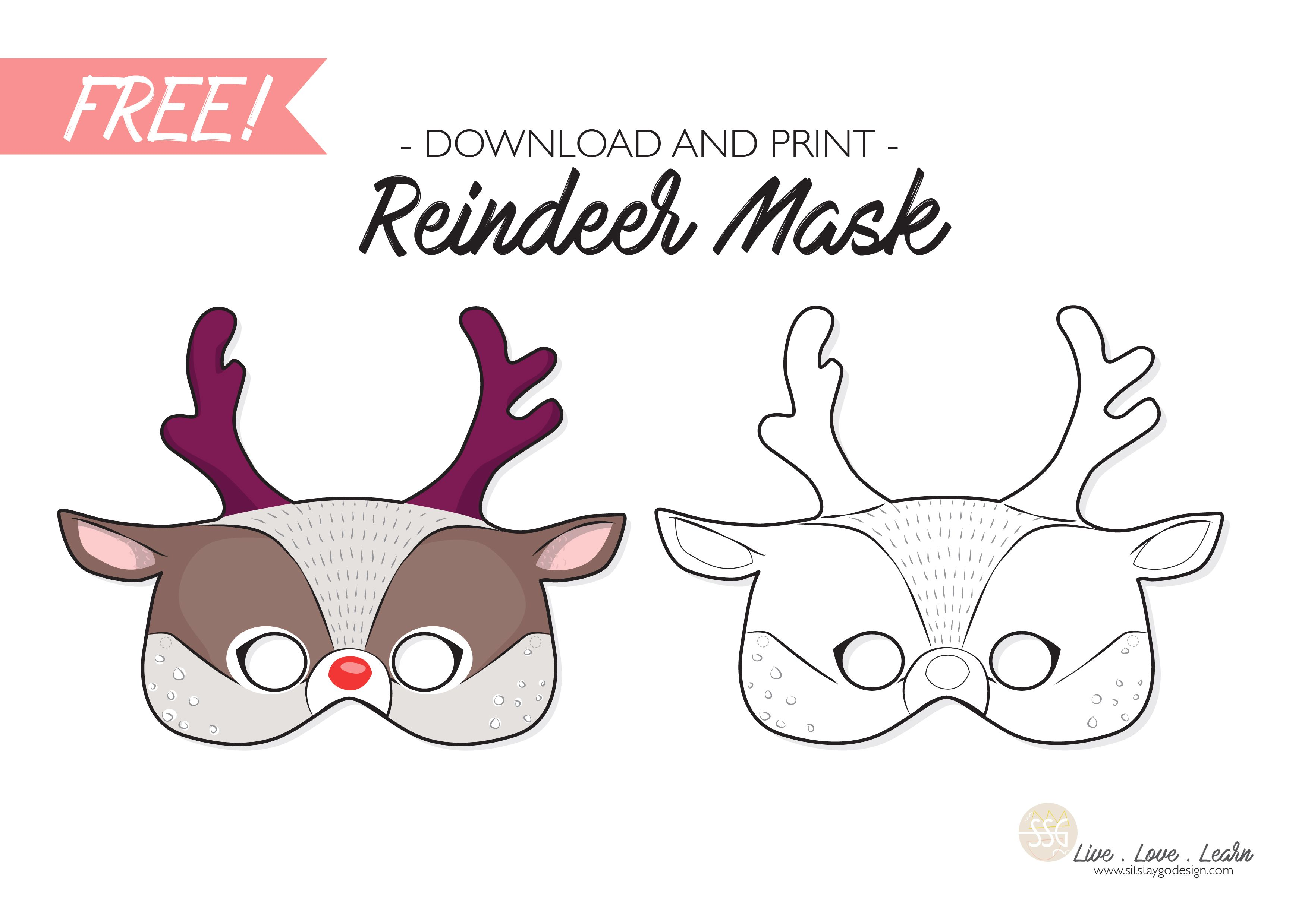 Free Reindeer Mask Printable Mask For Kids Mask Template Paper