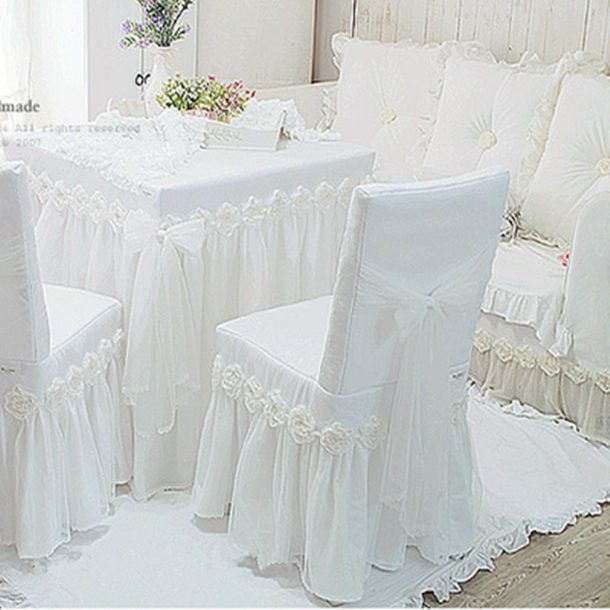 JullietteDream White Princess Lace Tablecloth Luxury Rose Dining