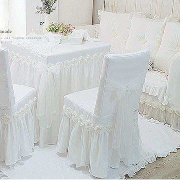 waj blanc princesse dentelle nappe de luxe rose table manger chaise en tissu coussin rond. Black Bedroom Furniture Sets. Home Design Ideas