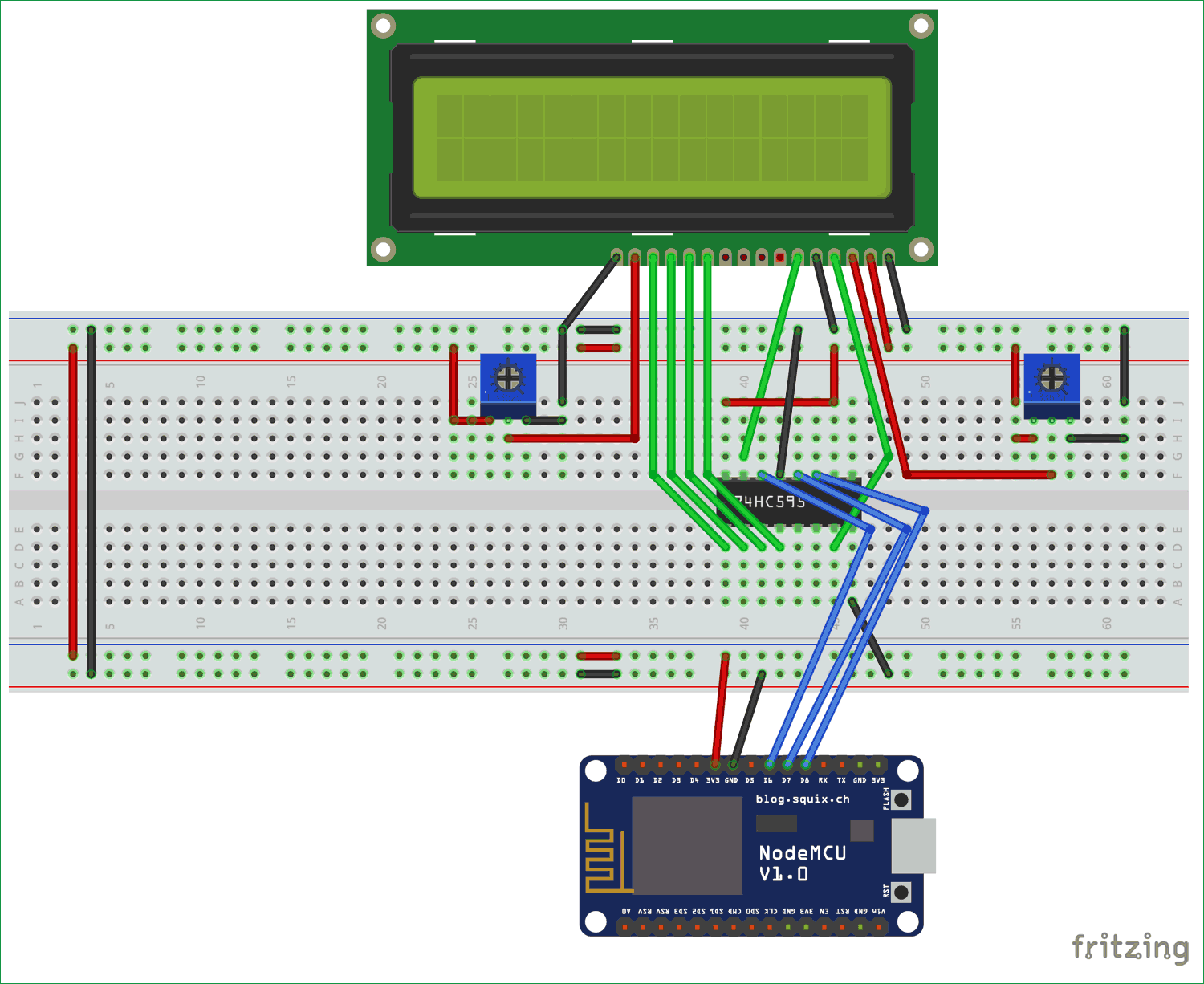 Interfacing Circuit Diagram Of Lcd With Esp12 Using Shift Register Electronic Projects Diagrams Sn74hc595n