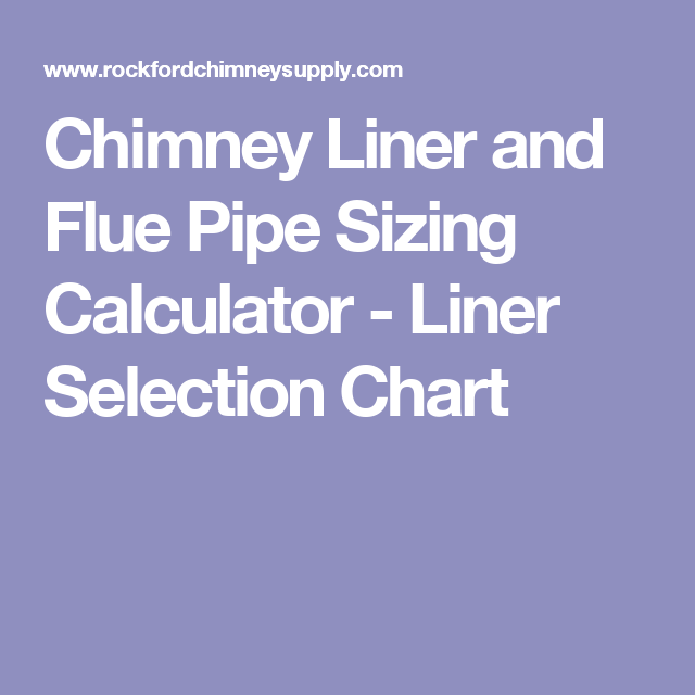Chimney Liner And Flue Pipe Sizing Calculator Liner