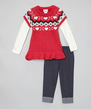 Another great find on #zulily! Red Heart Layered Sweater & Leggings - Infant, Toddler & Girls by Little Lass #zulilyfinds