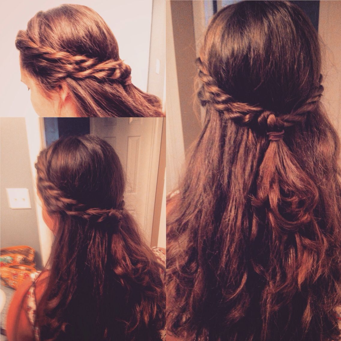 Half Up Half Down Double Twisted Crown Braid Boho Summer With