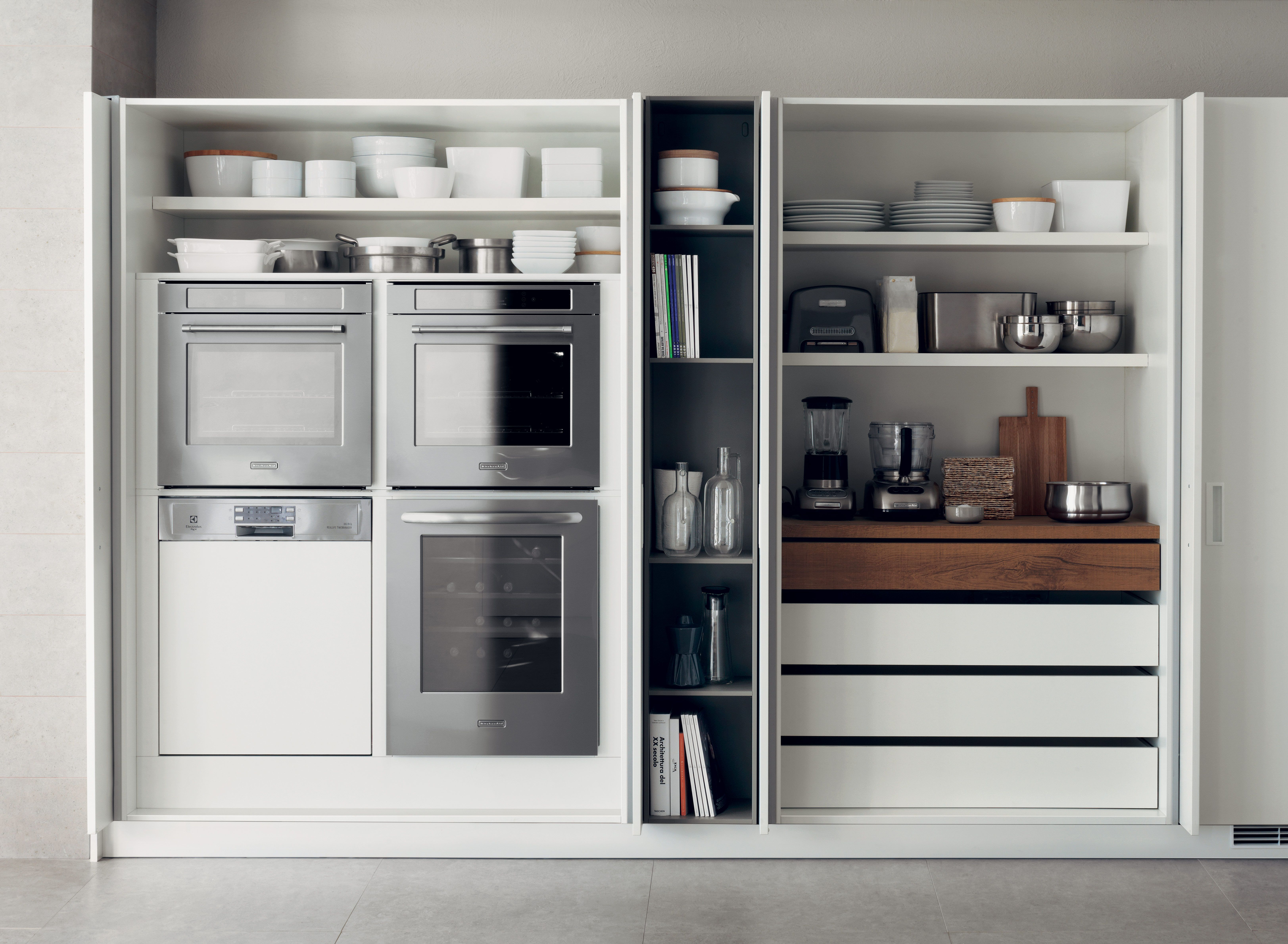 Love the idea of a countertop-like space that can be hidden behind ...