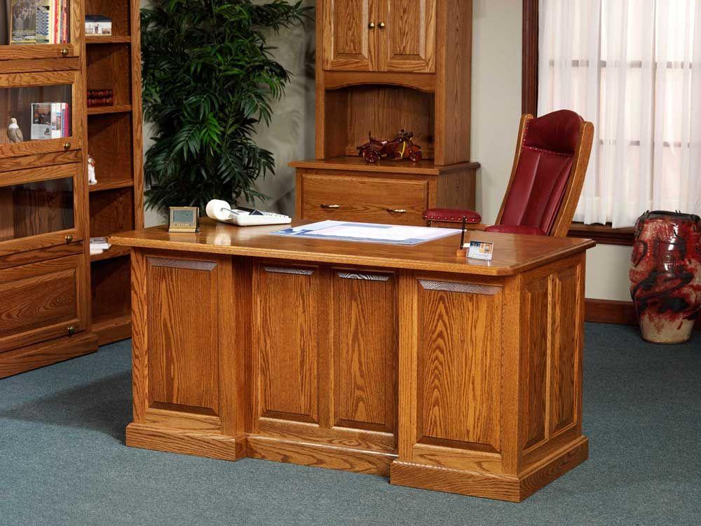 Highland Solid Oak Home Office Manager Work Desk Oak Office