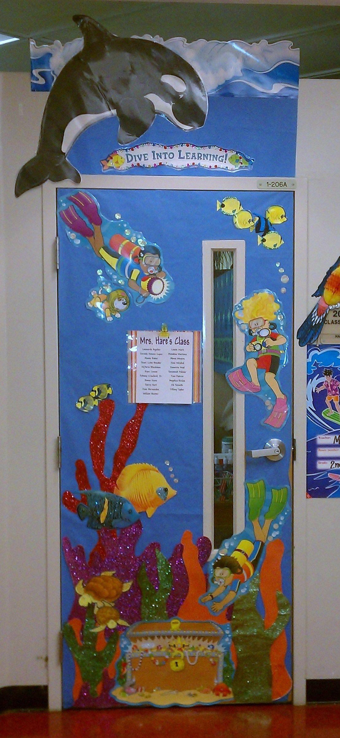 Classroom door decor ocean hawaii theme school stuff for Sea themed decorating ideas