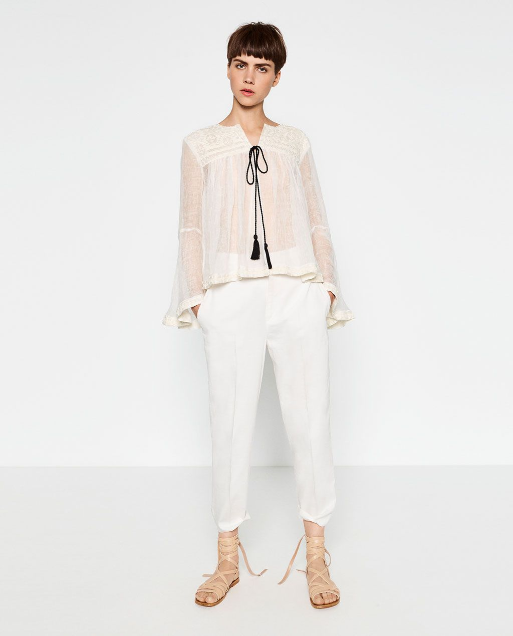 Image of embroidered linen jacket from zara pretapatterns