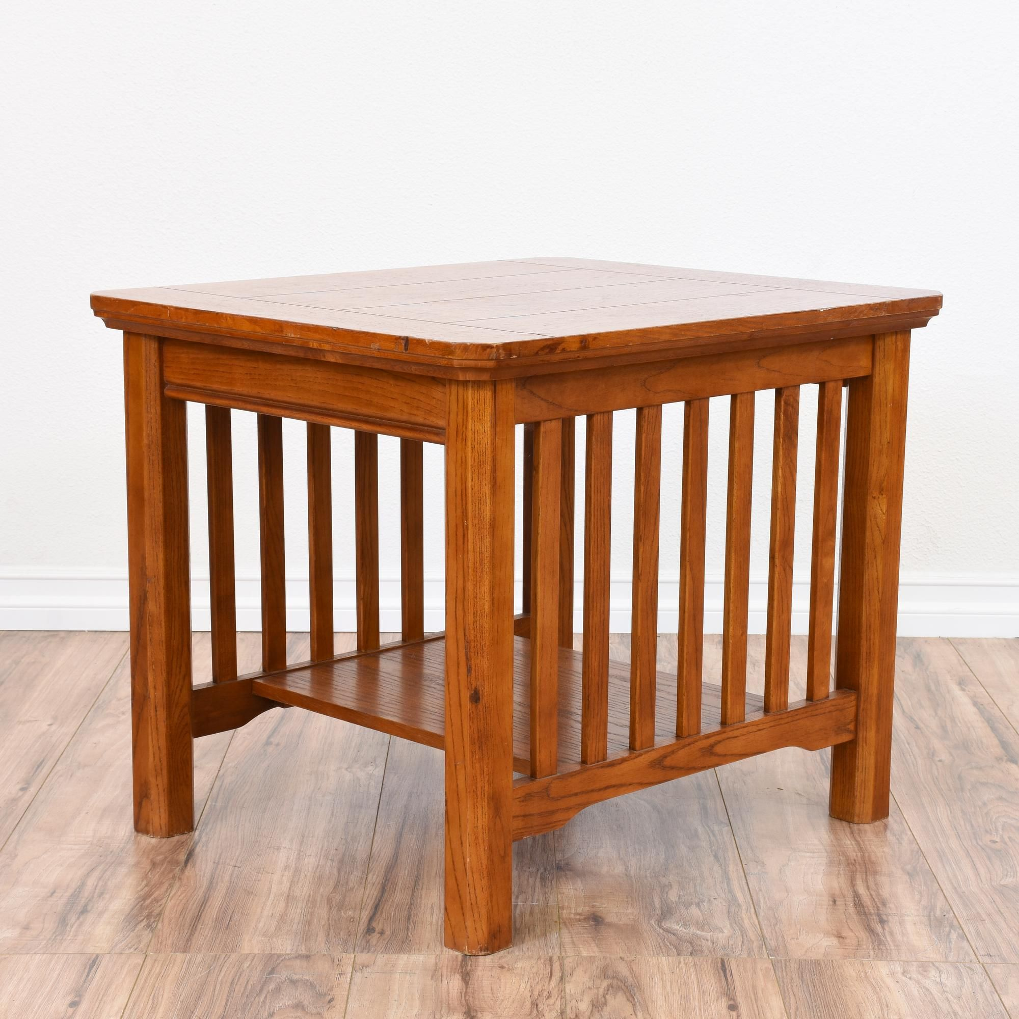 this mission style end table is featured in a solid wood with a