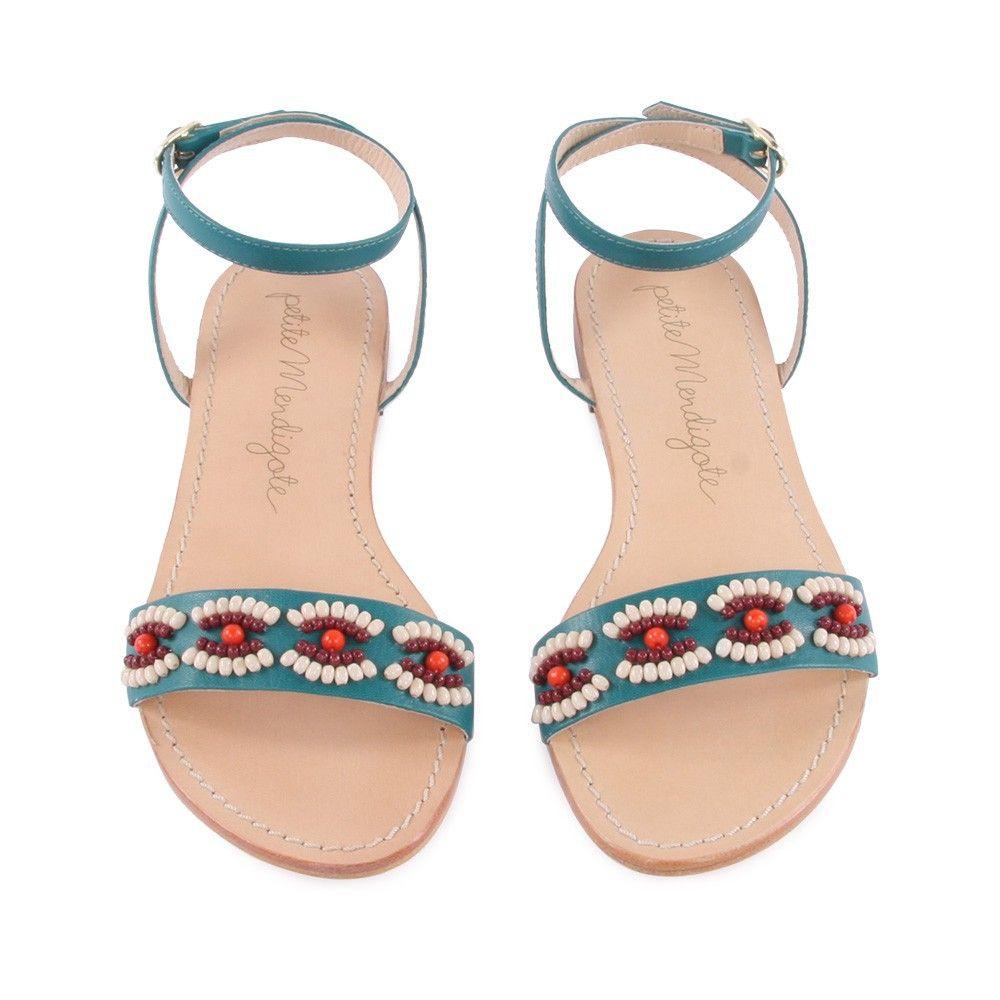 Petite mendigote sandales cuir perles cigale bleu canard wishlist