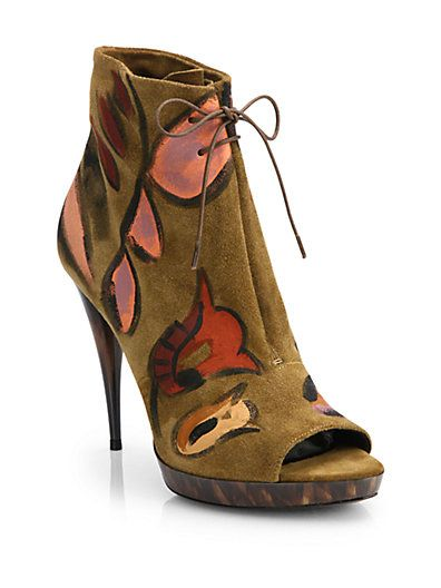 Burberry Prorsum Exclusive Hand-Painted Suede Ankle Boots
