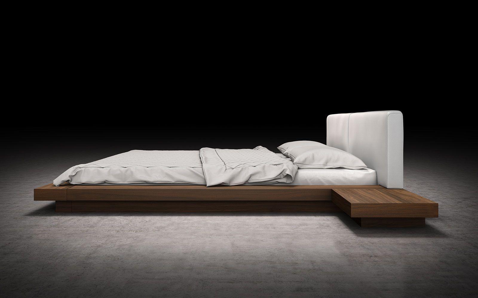Worth White Leather Platform Bed Japanese platform bed