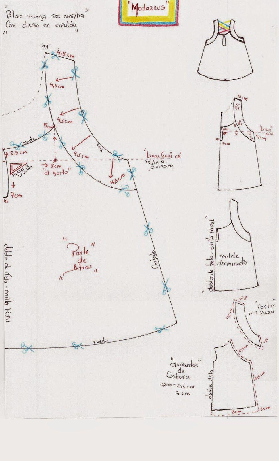 molderia de blusa modazeus | Patrones ligia | Pinterest | Costura ...