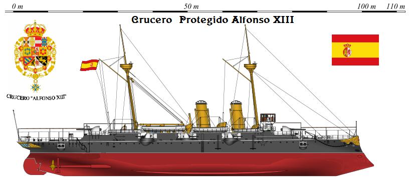 Perfiles navales.Crucero  rotegido Alfonso XIII 1896 fue un crucero protegido de la Clase Reina Regente, perteneciente a la Armada Española que permaneció activo desde 1896 hasta 1900.Fue construido en los astilleros de Ferrol es España.