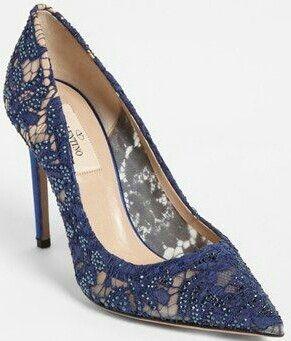Dark blue lace pumps   Fashion shoes
