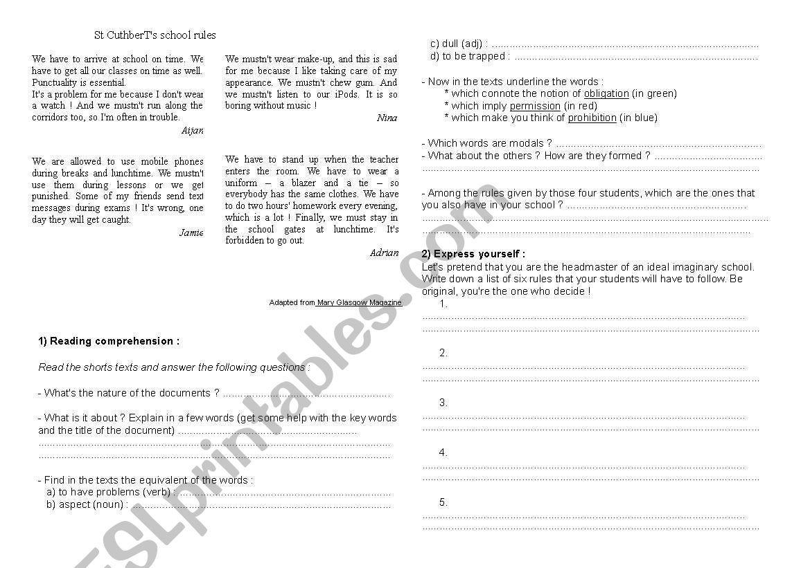 School Rules Worksheet